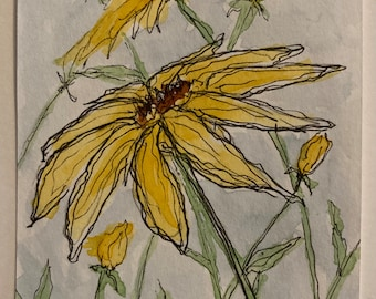 Daisy Day ACEO Art flower - Original Watercolor and Pen and Ink floral