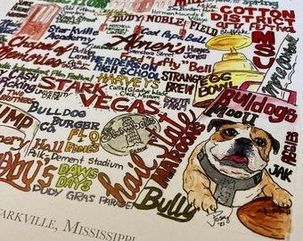Starkville, Mississippi wordart local landmark art signed print UNFRAMED