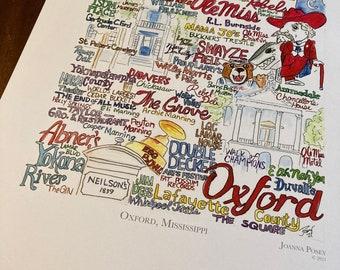 Oxford, Mississippi wordart local landmark art signed limited edition print UNFRAMED