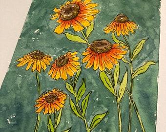 Helenium Mardis Grad watercolor original art Sunflower Daisy