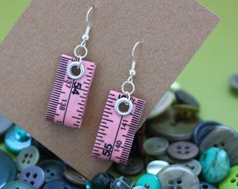 Tape Measure Earrings in Light Pink - Statement Jewelry created with Upcycled Measuring Tape - Dangle Earrings - Repurposed - Crafty