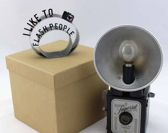 I Like to Flash People - Film Reel Gift Packaging Bow - Pop Up Letters Word Loop - Repurposed from Movie Film Strips - Photographer Gift Bow