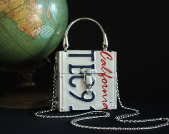 Traffic Stopper License Plate Purse *READY TO SHIP* - Upcycled Handbag - Chain and Handle - California - Repurposed Automobile License Plate