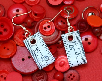 Tape Measure Earrings in White - Statement Jewelry created with Upcycled Measuring Tape - Dangle Earrings - Repurposed - Trashion - Crafty