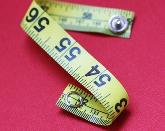 Tape Measure Bracelet in Yellow - Statement Jewelry created with Upcycled Measuring Tape - Vinyl Snap Bracelet - Crafty Repurposed Trashion