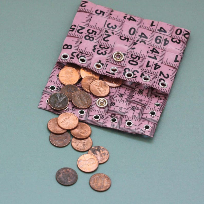 Tape Measure Coin Pouch in Light Pink Coin Purse or Wallet created with Upcycled Measuring Tape