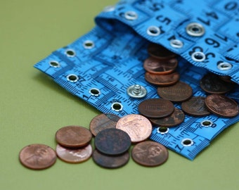 Tape Measure Coin Pouch in Blue - Coin Purse or Wallet created with Upcycled Measuring Tape