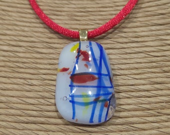 Small Colorful Fused Glass Pendant, Blue Stripes, Red, Yellow, White, Ready to Ship Necklace, Gift under 20 - New Sensations - 826 -3