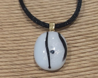 Small Black and White Fused Glass Pendant, White with Black Accents, Fused Glass Jewelry, Ready to Ship- Winter - 5