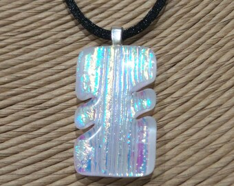 White Dichroic Glass Necklace, Statement Jewelry, Fused Glass Jewelry, Dichroic Jewelry on Etsy - Shining Spirit -3573-2