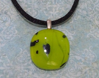 Bright Lime Green Penant, Black Accents, Fused Glass Jewelry, Neon, Ready to Ship, Teenager - Zoey - 5