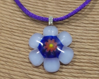 Small Purple Flower Necklace, Fused Glass Pendant, Light Purple, Lavendar, Royal Blue, Orange, Red, Yellow, Floral Necklace- Lilac Lovely -5