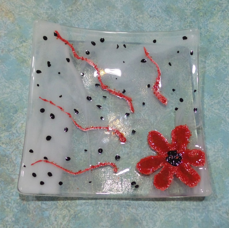 Glass Soap Dish Small Square Jewelry Plate Home Decor -Quirky Flower Gift for Her Ring Dish Fused Glass Art Hand Painted Flower Plate