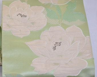 Obi Silk Fabric: White Rose on Light Green, Silk Obi Fabric Kimono Sash Vintage Japanese RPT