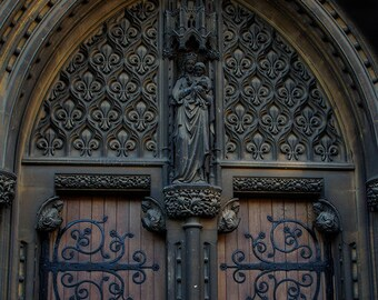 Cathedral Door Wall Art Print, Cambridge UK Wall Art, Church Door, Craftsmanship, British Photography, Archway, Historic United Kingdom Art