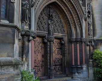 English Church Door Wall Art Print, Cambridge UK Wall Art, Church Door, Craftsmanship, British Photography Cathedral Historic United Kingdom