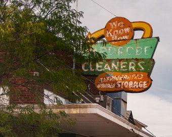 Retro Signage Laundry Room Wall Art, Retro Decor, Dry Cleaners Decor, Dodge City Kansas, Kansas Art Print, Retro Photography, Old Sign Art
