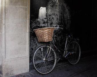 Bicycle In Alley Way Wall Art Print, Cambridge UK Photo, Modern Art Print, Paint Splatter, Bike Lover Gift Messenger Gift, Gift for Commuter