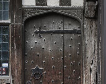 Shakespeare Door Photography, England Wall Art, British Photography, Stratford Upon Avon, Historic United Kingdom Art, Medieval Architecture