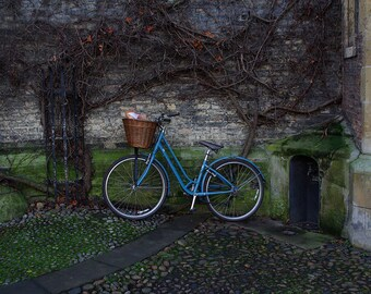 Blue Bicycle Against Mossy Wall Art Print, Cambridge UK Photo, Vines on Wall, Bike Lover Messenger Gift, Gift for Commuter, Bicycle Basket