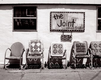 New Orleans Photography, Modern Rustic Wall Art Print, Folk Art Decor The Joint BBQ, Black and White Photography, Americana Restaurant Photo