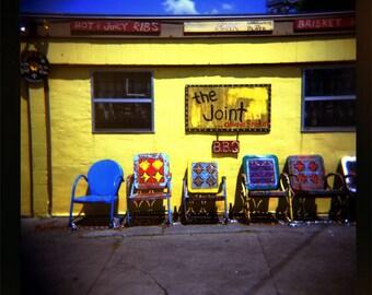 New Orleans Photography Bright Wall Art Print Cajun Decor Louisiana Art Colorful Decor The Joint BBQ Cafe  Folk Art Photography