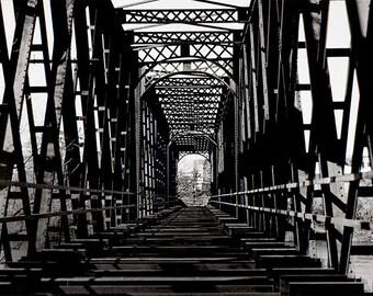 Train Bridge Photography, Train Tracks, Black and White FILM Photography, Architecture Photo, Gift for Engineer, Symmetrical Fine Art Print
