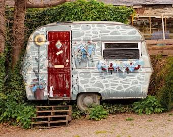 Gypsy Caravan Photography Shabby Chic Decor Tiny Home Art Vintage Camper Wall Art Print RV Decor UK Photography Welsh Photo Vacation Home