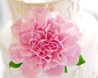 Made to Order Frilly Peony Clay Cake Flower with Leaves