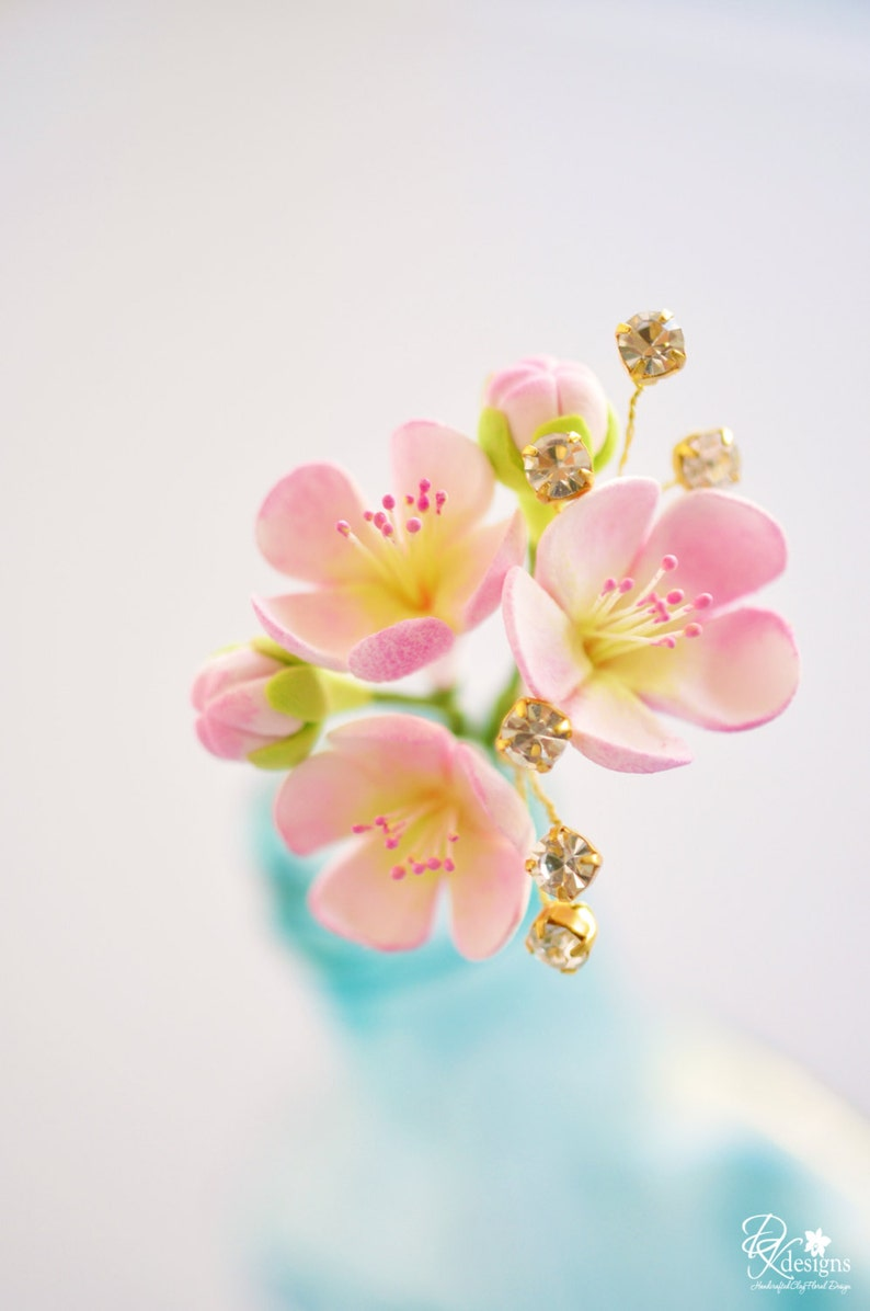 Made to Order  Pink Cherry Blossom Hair Pin with Handwired image 0