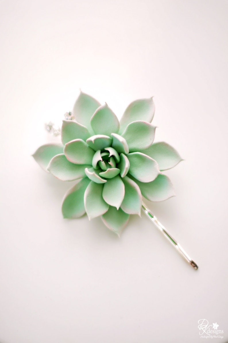 Made-to Order 2.75 inch Mint Green and Peach Succulent Hair image 0