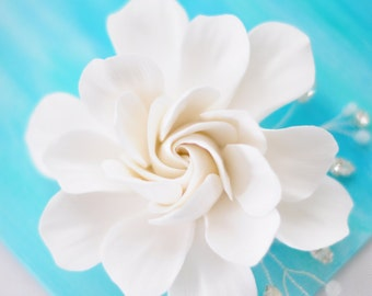 COUTURE CLAY - Made to Order Elongated, White Gardenia Flower with Handwired Rhinestones and Seed Beads