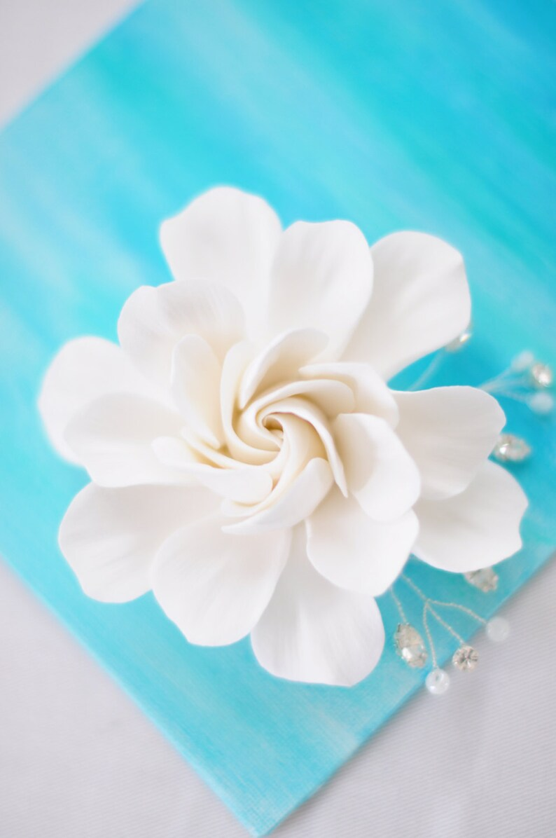 COUTURE CLAY  Made to Order Elongated White Gardenia Flower image 0
