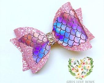 beach hair mermaid hair Large Mermaid Hair Bows hair accessories accessories faux leather bows girls hair clips Kawaii