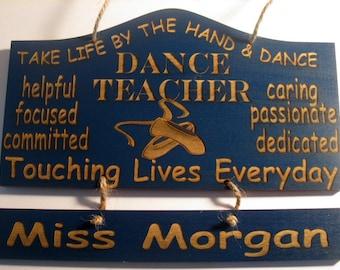 Personalized Wooden Dance Ballet Teacher Wall Hanging