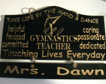 Personalized WoodenTap Gymnastics Teacher Wall Hanging