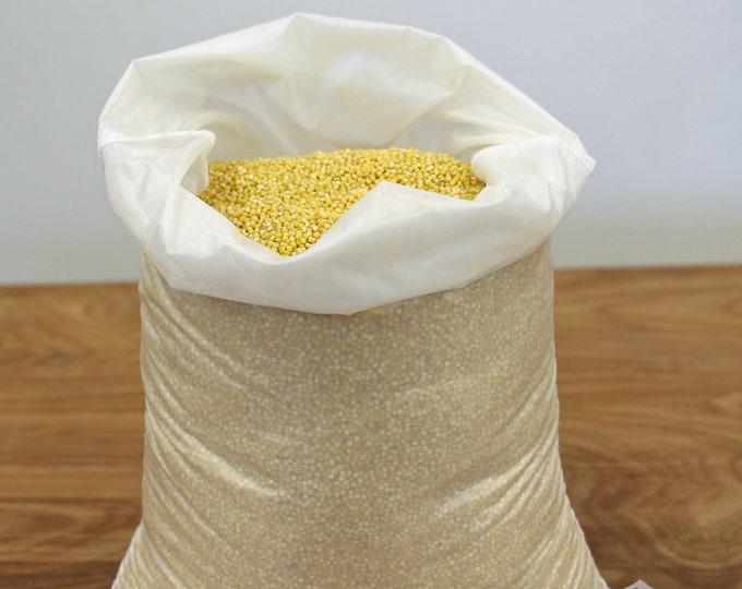 Reusable bulk food bag - LARGE - WHITE - Ripstop nylon - Produce bag - Bulk bin bag - reusable sacks - grain, rice, flour, produce, oats