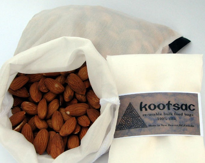 Biodegradable reusable food bag - Bulk bin shopping - Natural SILK - Size MEDIUM - snacks, dried fruit, nuts, grains, cereal, whole food
