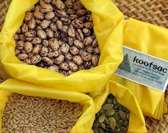 Reusable bulk bin food bags - Set of 3 - Small, Medium, Large - YELLOW - Lightweight ripstop nylon - shopping for grains, rice, snacks, nuts