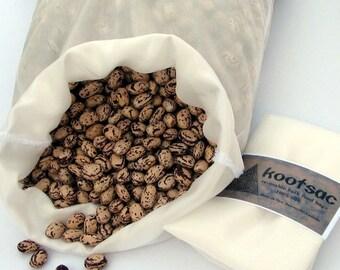 Reusable biodegradable silk bulk food bag - NATURAL WHITE - Size LARGE - Use for grains, dry food, lightweight eco bag, bulk bin shopping