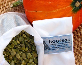 Bulk bin bag - Reusable food bag, MEDIUM size, WHITE - Ripstop nylon - zerowaste bag - food market shopping - reusables - bulk bin shopping