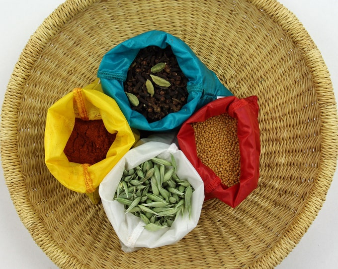Bulk bin shopping bags - SMALL sizes for herbs, spices - Set of 4 - Mixed bright colors - Ripstop nylon - Bulk bin bags - Snack, Eco bags