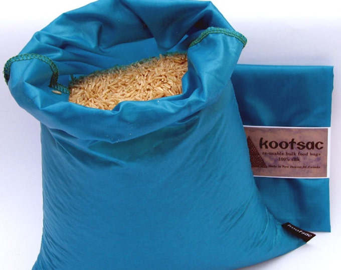 Reusable Kootsac food bag - LARGE size, TURQUOISE - lightweight Ripstop Nylon-  Bulk bin shopping for produce, rice, grain, flour, dry food