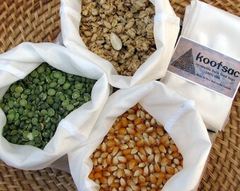 Zero waste shopping - Reusable bulk bin food bags - 3 x MEDIUM - Natural WHITE silk - lightweight, biodegradable - grains, rice, nuts, seeds