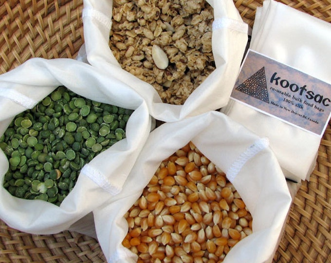 Zero waste shopping - Reusable bulk bin food bags - 3 x MEDIUM - Natural WHITE silk - lightweight, biodegradable - grains, rice, nuts, seeds