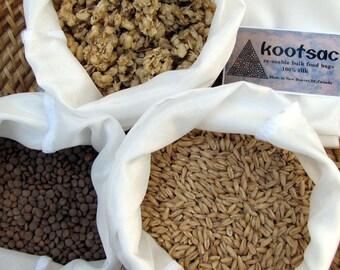 Eco bags - Reusable bulk food bags - 3 x LARGE - Natural white SILK - Biodegradable - Bulk bin shopping - grains, dried food, pulses, rice