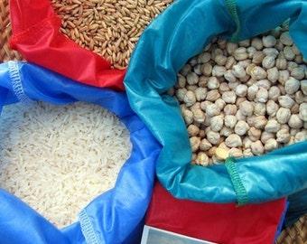 Reusable bulk bin food bag - Set 3 LARGE bags - Red,Blue,Turquoise - Ripstop nylon - rice,grains,produce,veggies - washable,durable, eco bag