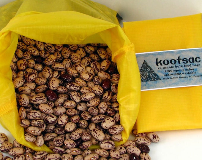 Reusable bulk bin food bag - LARGE size - YELLOW - Lightweight washable ripstop nylon - zero waste grocery shopping, produce, grains, flour