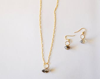 Herkimer Diamond Gold Necklace Earrings Set Modern Geometric Minimalist Gemstone Pendant Hoop 14k Chain Avant Gard Black Owned Business Shop