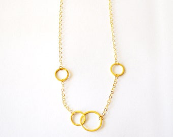 Gold Geometric Necklace / Gold Minimalist Necklace / Gold Circle Necklace / 14k Gold Chain Necklace Vermeil Gold Geometric Circles Hoops